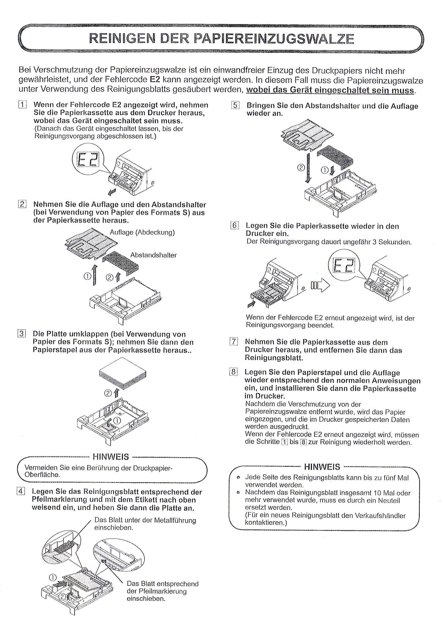 Reinigungskarte für CP30 Serie